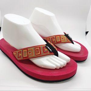 Teva Woven Geometric Print Red Flip Flop Sandals